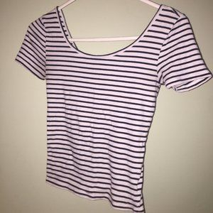 Striped black and white scoop neck baby tee